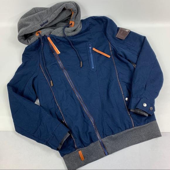NAKETANO Yibailian Blue Gray Hooded Jacket large